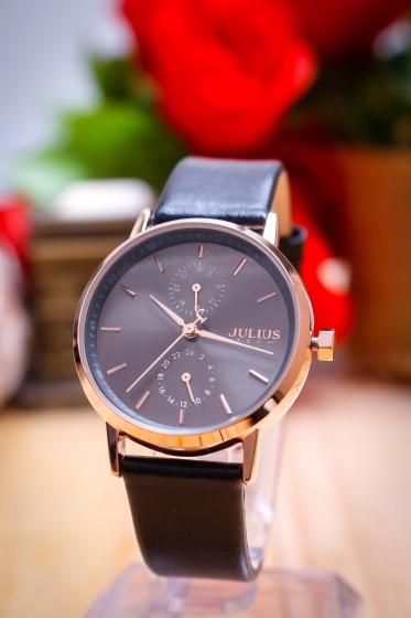 Đồng hồ nữ JA-1159ER Julius Hàn Quốc dây da (đen)