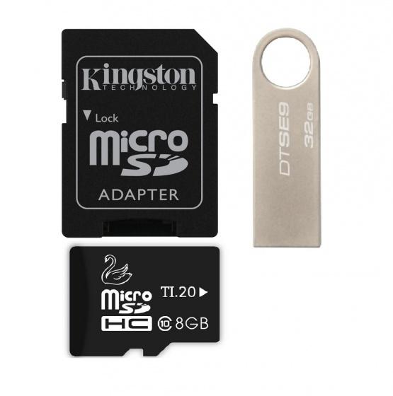 Combo USB Kingston 32G data traveler SE9 (BB) +Thẻ nhớ JVJ micro SDHC 8G C10+Adapter