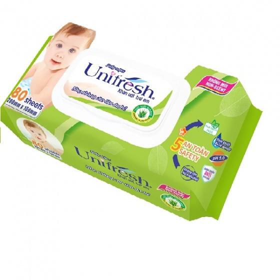 Combo 4 gói khăn ướt không mùi Unifresh Aloe vera 80 miếng