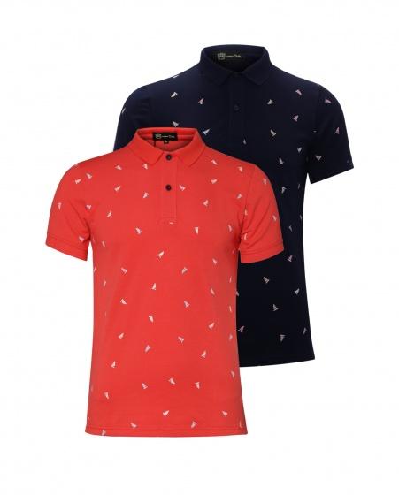 Bộ 2 áo thun in cánh buồm AT016 -  đỏ, xanh đen