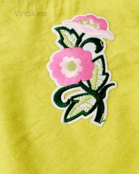 Đồ bộ bé gái đũi thêu hoa Vinakids màu xanh cốm (1-7 tuổi)