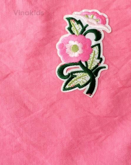 Đồ bộ bé gái đũi thêu hoa Vinakids màu Hồng (1-7 tuổi)
