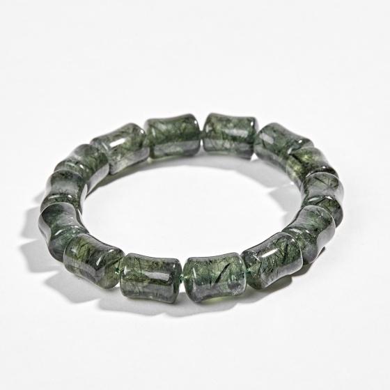 Vòng tay phong thủy đá thạch anh tóc xanh đốt trúc (10mm) Ngọc Quý Gemstones