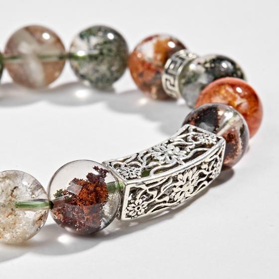 Vòng thạch anh ưu linh đa sắc phối charm kết đồng tâm bạc 12mm Ngọc Quý Gemstones