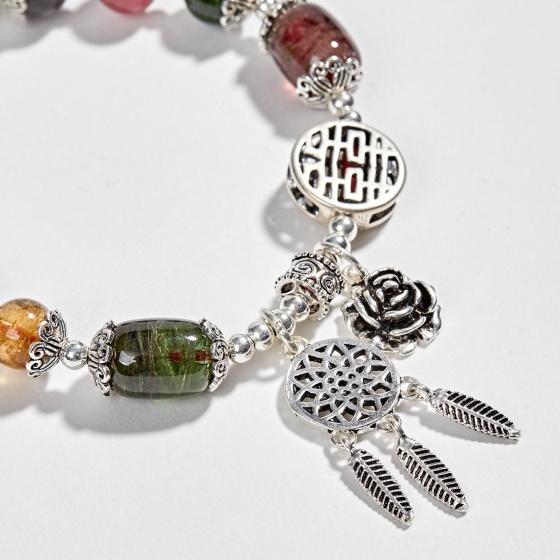 Vòng tay phong thủy đá tourmaline đa sắc phối lu thống (7mm) Ngọc Quý Gemstones
