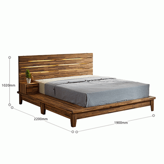 Giường đôi Begonia liền tủ đầu giường gỗ cao su 1m6 - Cozino