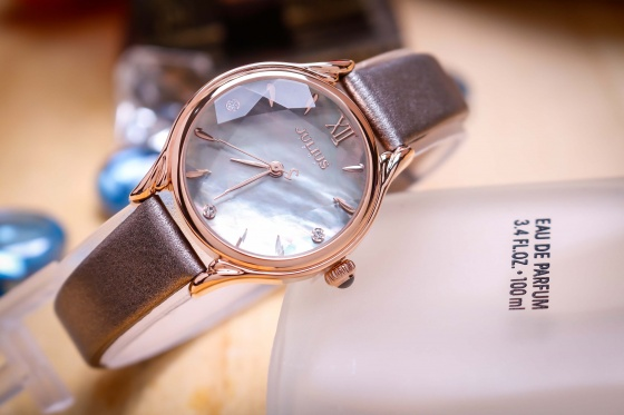 Đồng hồ nữ JA-1154D Julius Hàn Quốc dây da (xám)