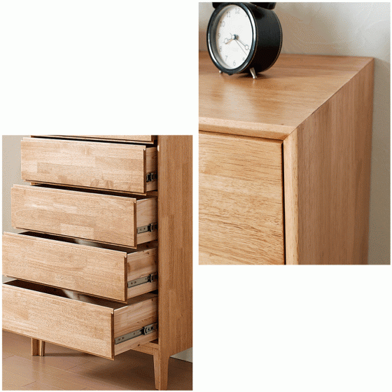 Tủ ngăn kéo Poppy 5 hộc gỗ cao su - Cozino