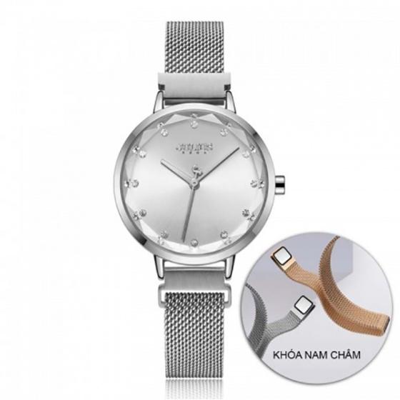 Đồng hồ nữ JA-1143A Julius Hàn Quốc dây nam châm (bạc)