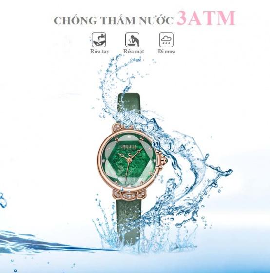 Đồng hồ nữ JA-1142E Julius Hàn Quốc dây da (xanh)