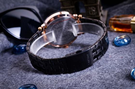Đồng hồ nam 6 kim JAH-102D Julius Hàn Quốc dây thép (đen)