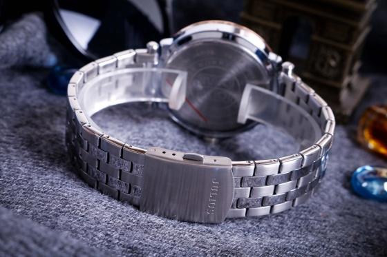 Đồng hồ nam 6 KIM JAH-102C Julius Hàn Quốc dây thép (bạc)