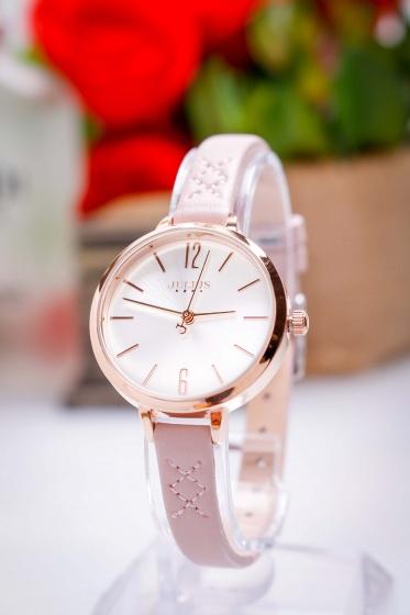 Đồng hồ nữ JA-1151C Julius Hàn Quốc dây da (hồng)