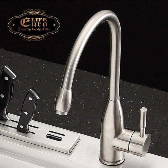Vòi rửa chén nóng lạnh Inox SUS 304 Eurolife EL-T004 (Trắng vàng)