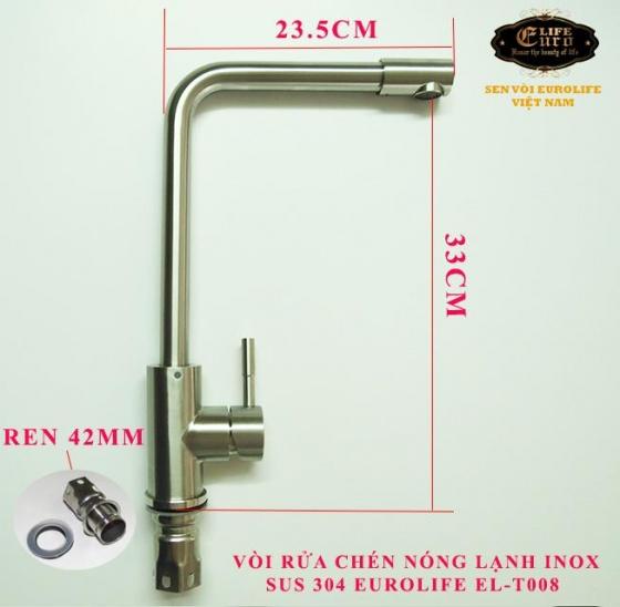 Vòi rửa chén nóng lạnh Inox SUS 304 nguyên khối đầu vòi xoay 360 độ Eurolife EL-T008-1 (Trắng vàng)
