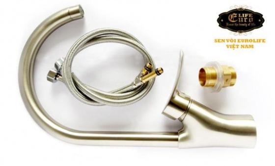 Vòi rửa chén nóng lạnh Eurolife EL-T002 (Trắng bạc)