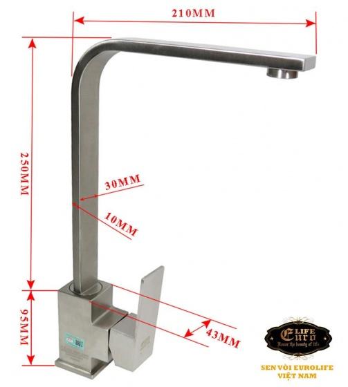 Vòi rửa chén nóng lạnh Inox SUS 304 cần vuông Eurolife EL-T002-1(Trắng vàng)
