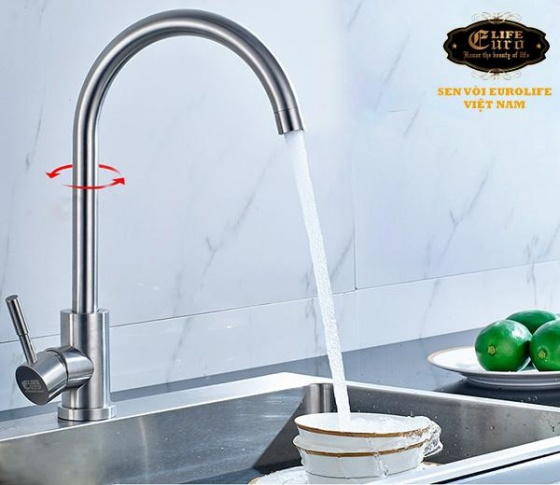Vòi rửa chén nóng lạnh Inox SUS 304 nguyên khối Eurolife EL-T003 (Trắng vàng)
