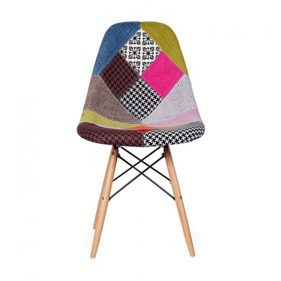 Ghế Eames bọc thổ cẩm chân gỗ nhiều màu 1