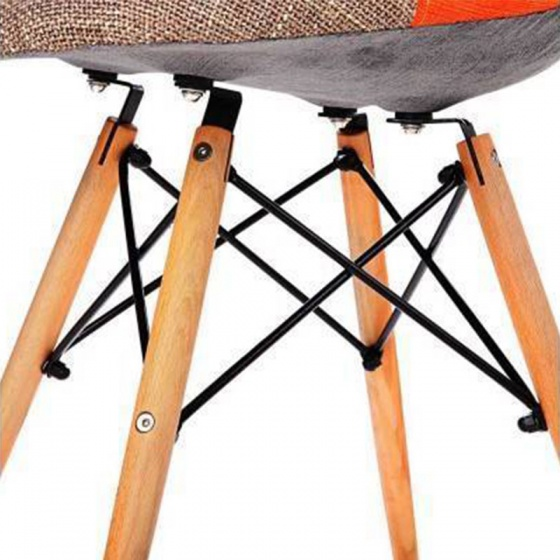 Ghế Eames bọc thổ cẩm chân gỗ nhiều màu 2