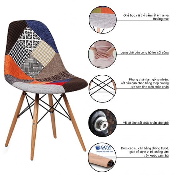 Ghế Eames bọc thổ cẩm chân gỗ nhiều màu 5