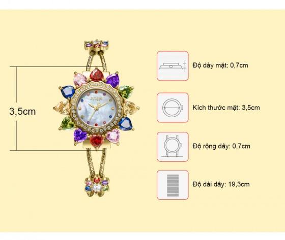 Đồng hồ nữ Julius Hàn Quốc JS-021 mặt đính đá ngũ sắc tuyệt đẹp