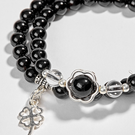 Vòng tay phong thủy 2 line đá núi lửa phối charm bạc (6mm) Ngọc Quý Gemstones