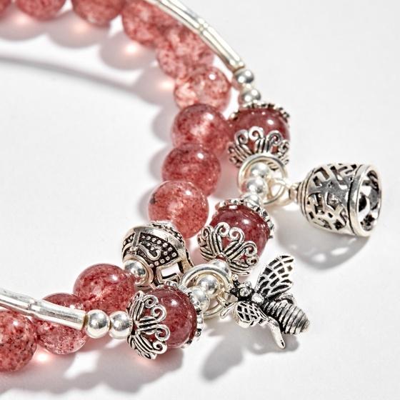 Vòng tay phong thủy 2 line đá thạch anh dâu phối charm ong bạc (6mm) Ngọc Quý Gemstones
