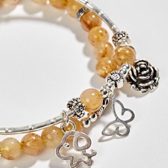 Vòng tay phong thủy 2 line đá thạch anh tóc vàng phối charm hoa bạc (6mm) Ngọc Quý Gemstones