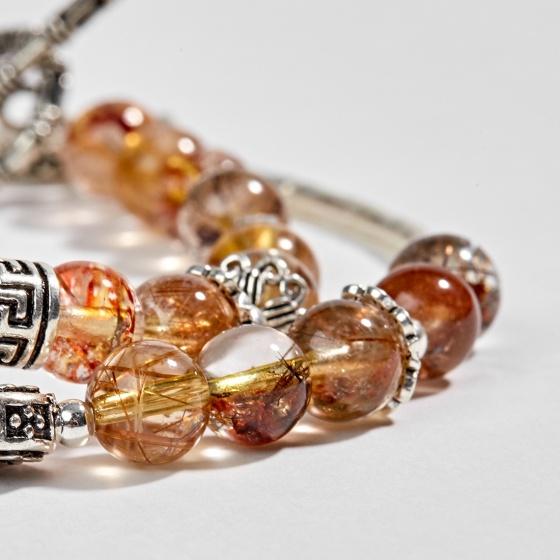 Vòng 2 line thạch anh ưu linh tóc phối charm vương miệng bạc 6mm Ngọc Quý Gemstones