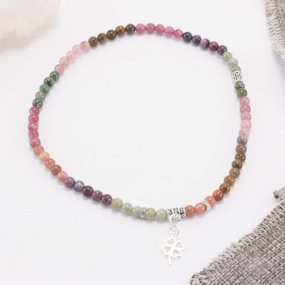 Vòng tay phong thủy 2 line đá tourmaline đa sắc phối charm cỏ 4 lá bạc (6mm) Ngọc Quý Gemstones