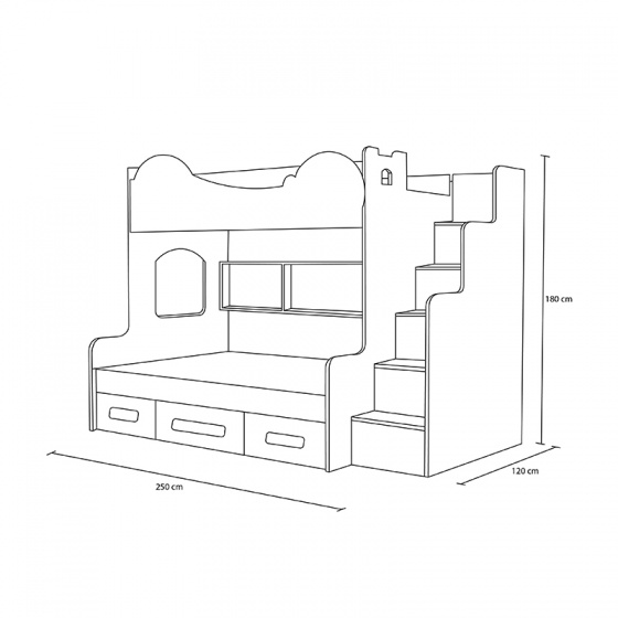 Giường tầng cao hình Doremon 1m2