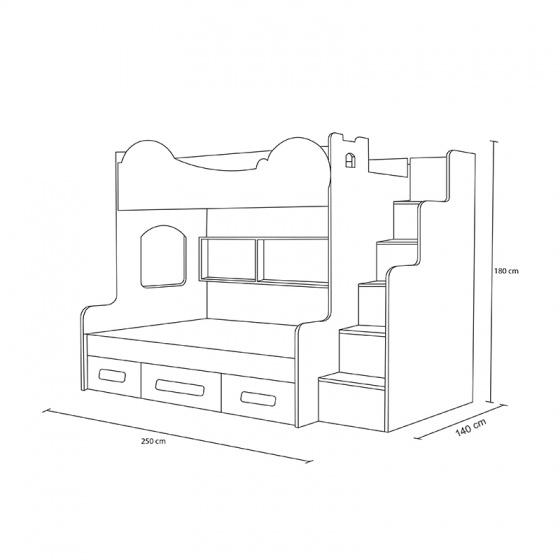 Giường tầng cao hình Doremon 1m4