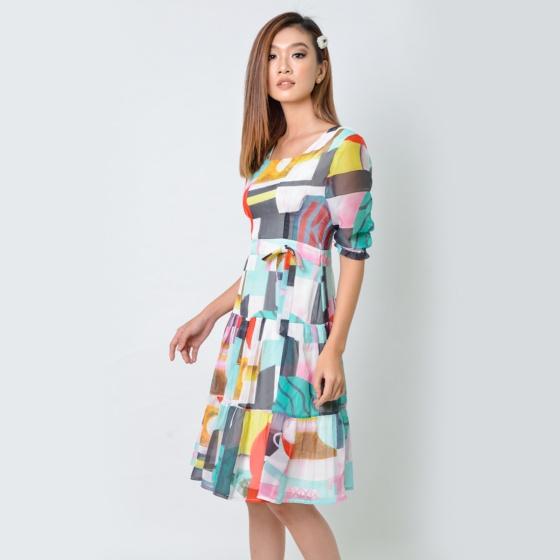 Đầm xòe thời trang Eden tay lỡ họa tiết - D353