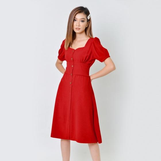 Đầm chữ a thời trang Eden cổ vuông màu đỏ- D355
