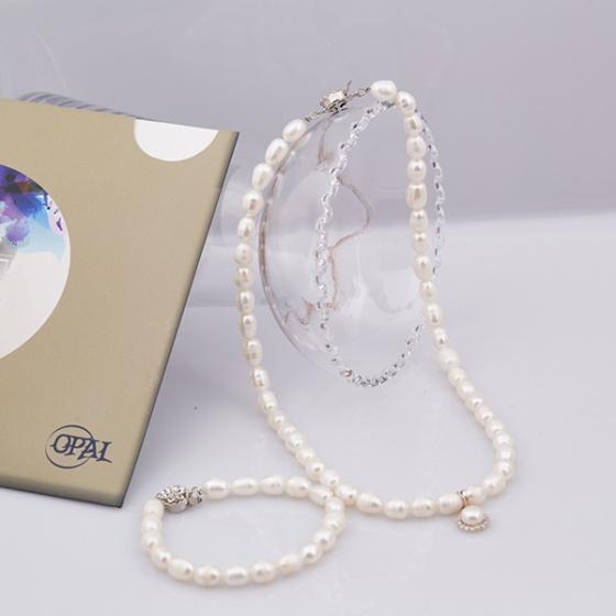 Opal_ Bộ trang sức ngọc trai kèm mặt bạc đính ngọc trai trắng_T05