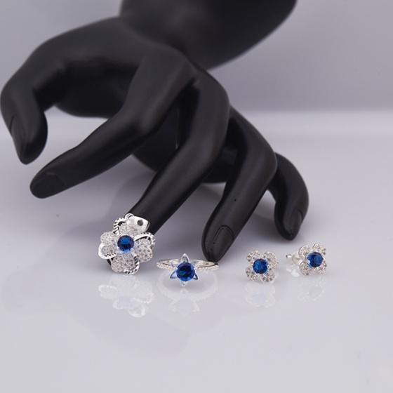 Opal_ Bộ trang sức bạc đính đá Ross xanh dương _T05