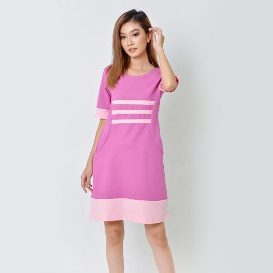 Đầm suông thời trang Eden tay lỡ phối màu hồng sen - D358
