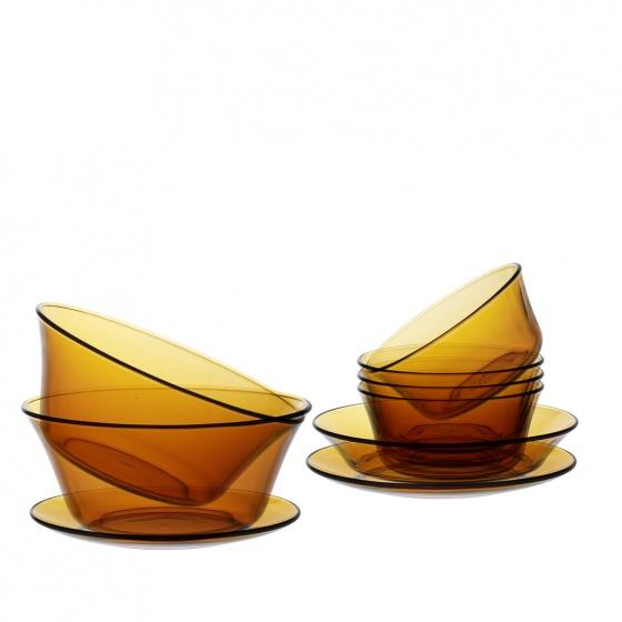 Bộ bàn ăn 9 món thủy tinh cường lực Pháp Duralex Lys Vàng Amber