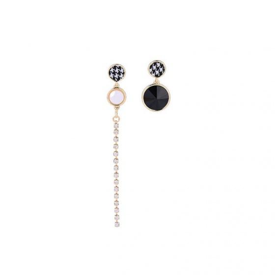 Bông tai bất đối xứng caro fashion - Tatiana - BH3593 (vàng)