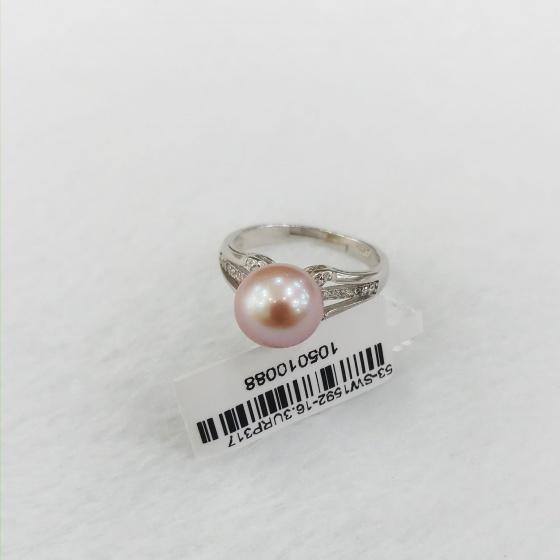 Eropi nhẫn bạc đính ngọc trai màu hồng 8-9mm