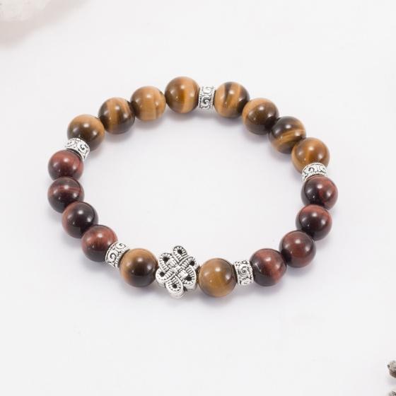Vòng tay phong thủy đá thạch anh mắt hổ phối charm bạc (8mm) Ngọc Quý Gemstones