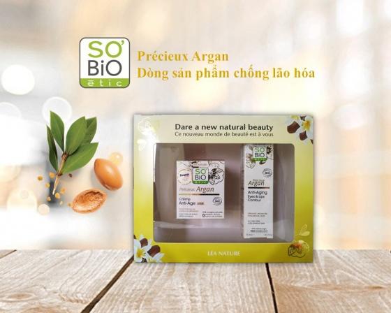 Bộ set kem chống nhăn hữu cơ với tinh dầu Argan 50ml + kem chống nhăn hữu cơ dành cho vùng mắt và môi với tinh dầu Argan 15ml