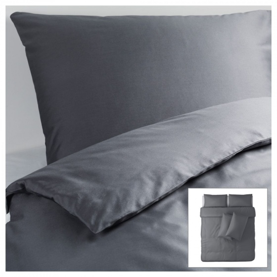 Bộ drap vải xám 100% Cotton satin 160cm x 200cm x 30cm