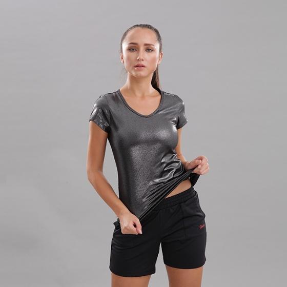 Áo thun nữ cổ tim tay ngắn Circle (V-neckline essential t-shirt) JW19-0036B