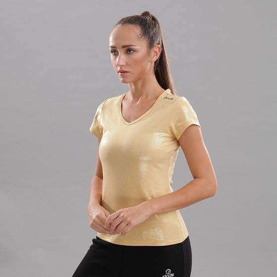 Áo thun nữ cổ tim tay ngắn Circle (V-neckline essential t-shirt) JW19-0036Y