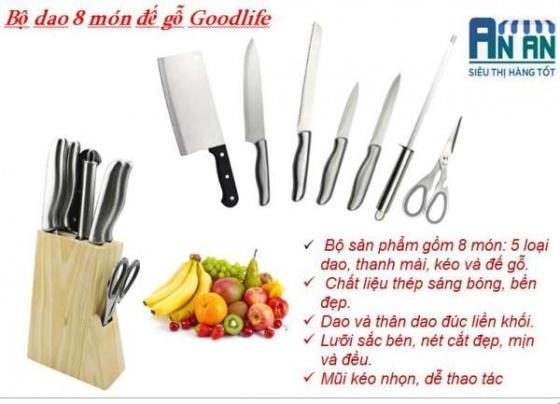 Bộ dao 8 món đế gỗ Goodlife MK80