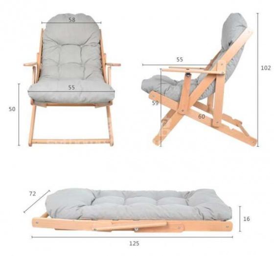 Bộ ghế lười gỗ sồi - Ghi xám