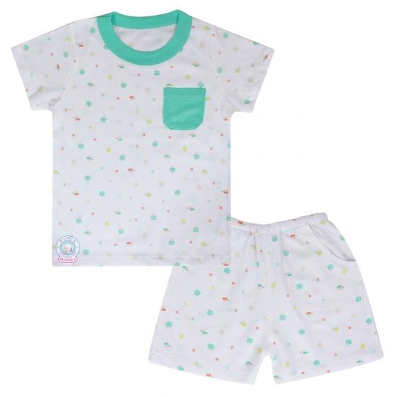 Bộ ngắn in bé trai BN1077 (viền màu và họa tiết ngẫu nhiên)_size 5,6,7