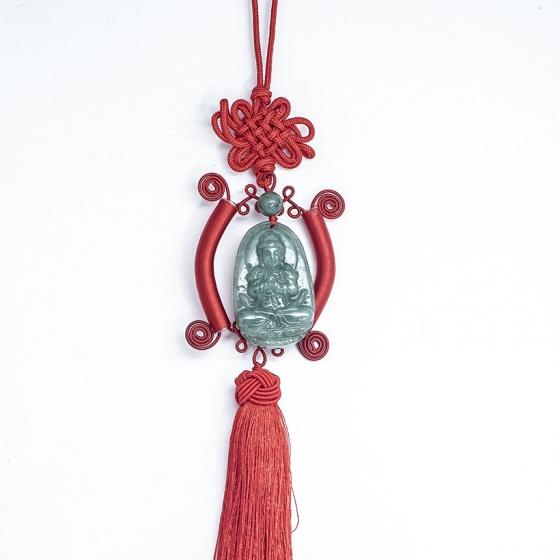 Như Lai Đại Nhật Ngọc cẩm thạch tự nhiên - Phật bản mệnh treo xe hơi cho người tuổi Mùi, Thân - độ mạng, bình an - Vietgemstones